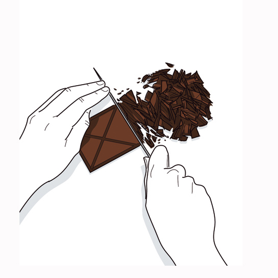 How to Make Chocolate Covered Strawberries: Illustration of chopping chocolate