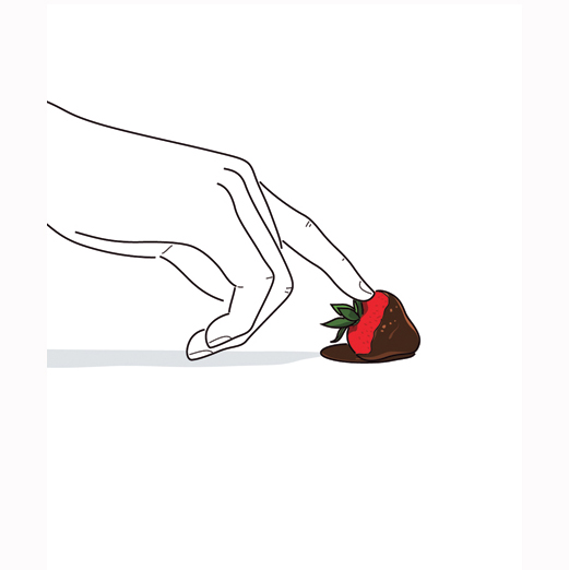 How to Make Chocolate Covered Strawberries: Illustration of a chocolate strawberry being slid
