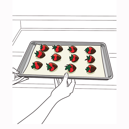 How to Make Chocolate-Covered Strawberries: Illustration of strawberries on a pan