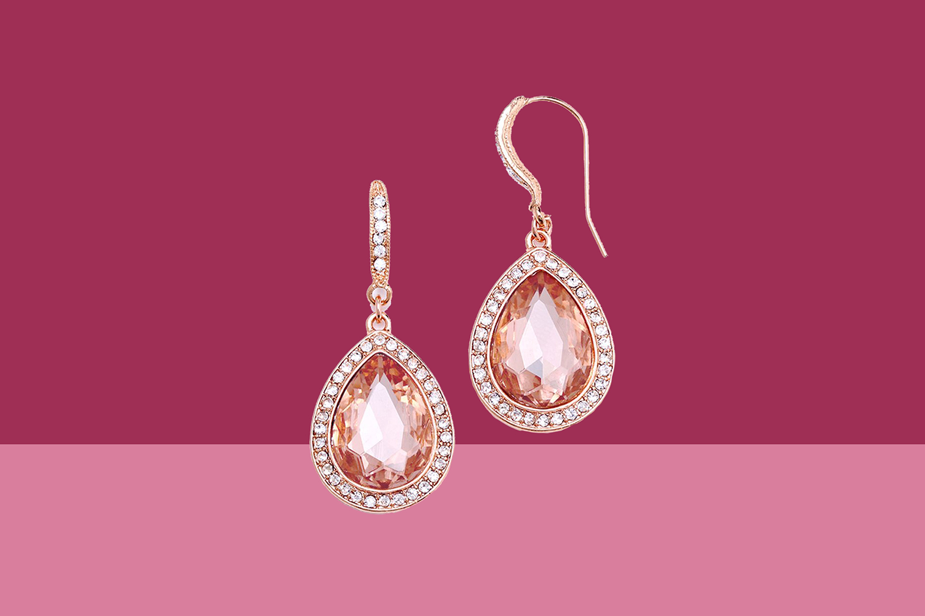 Pink and Rose Gold Crystal Earrings