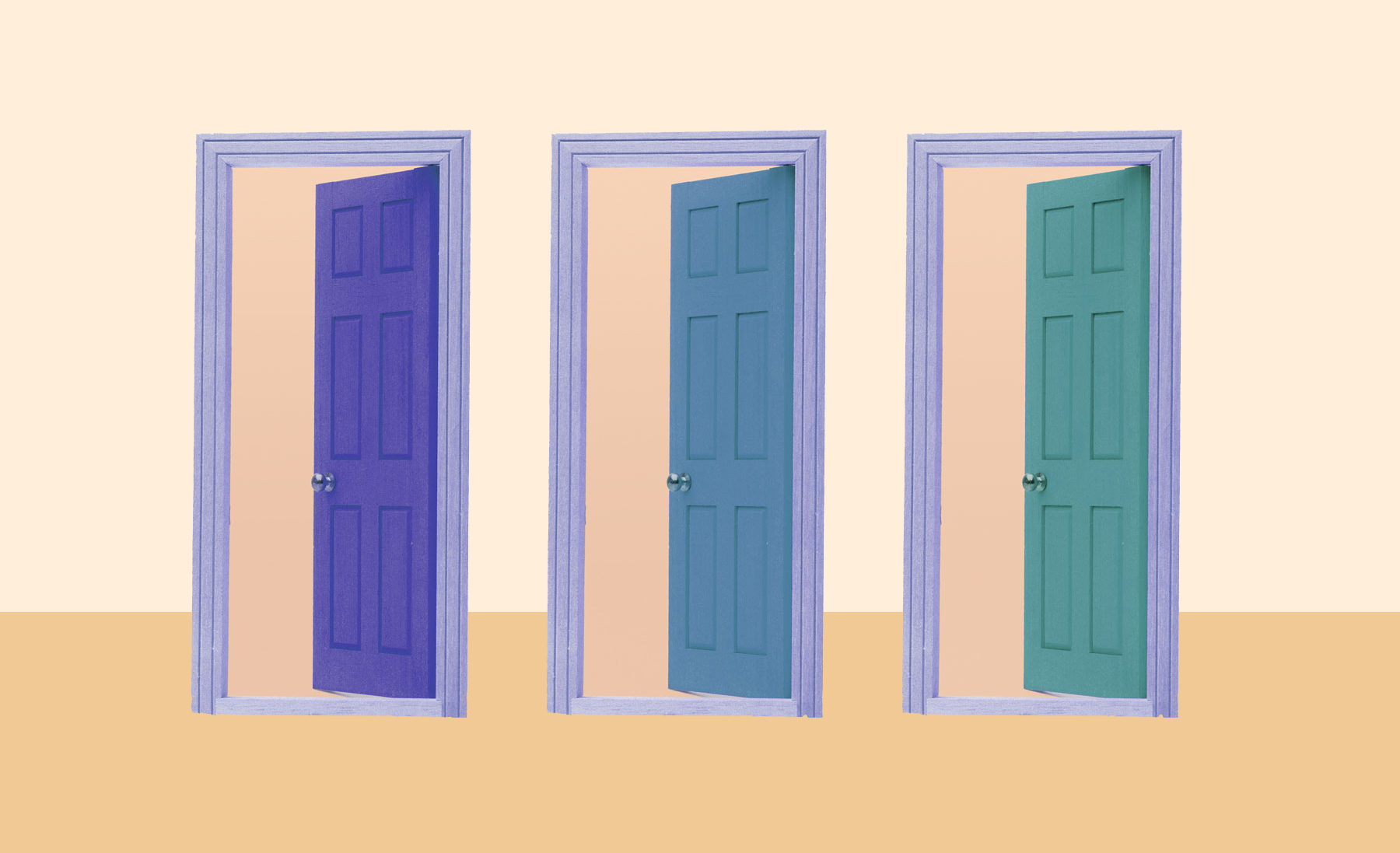 Painted Interior Doors Trend, 3 colorful doors