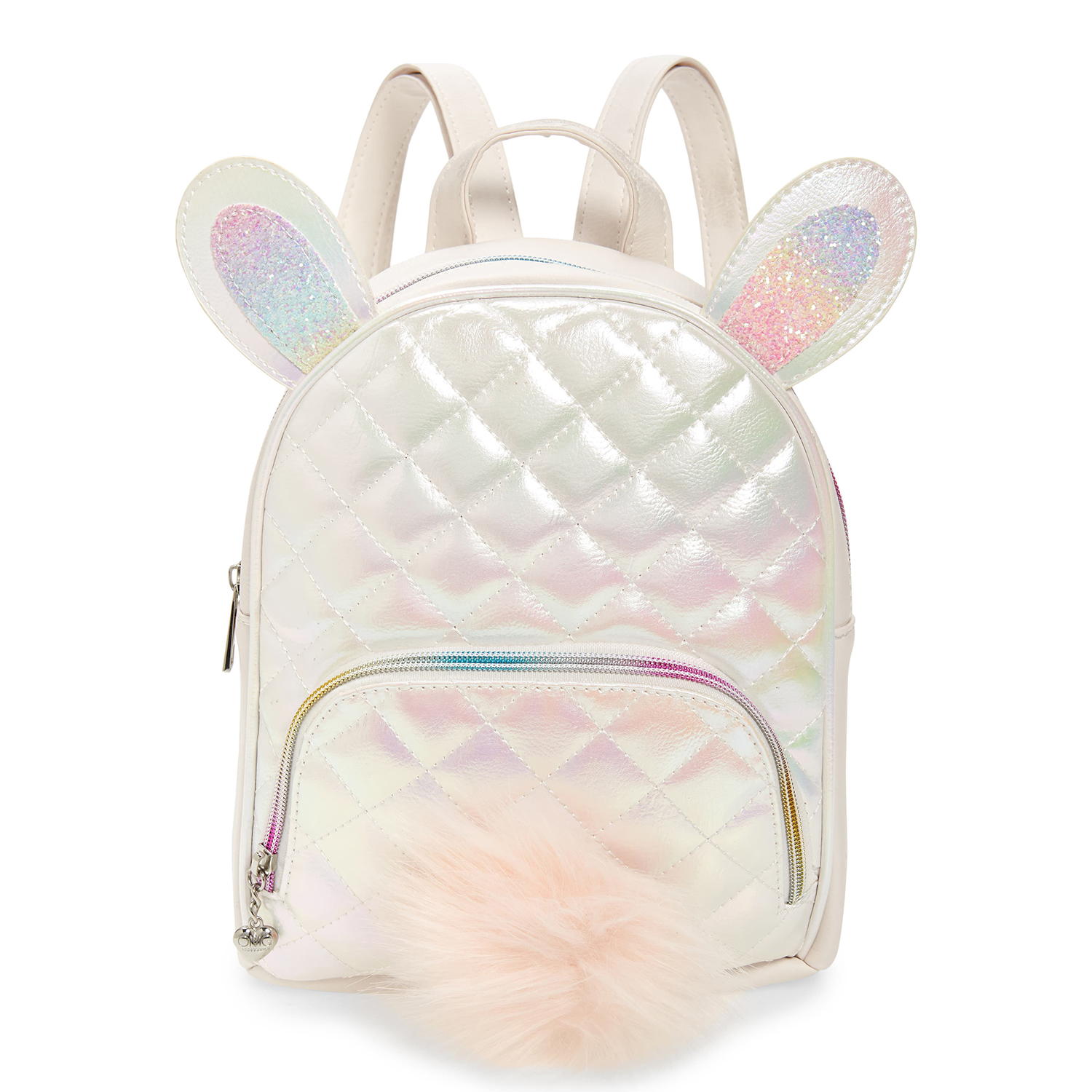 OMG Quilted Bunny Faux Fur Trim Backpack