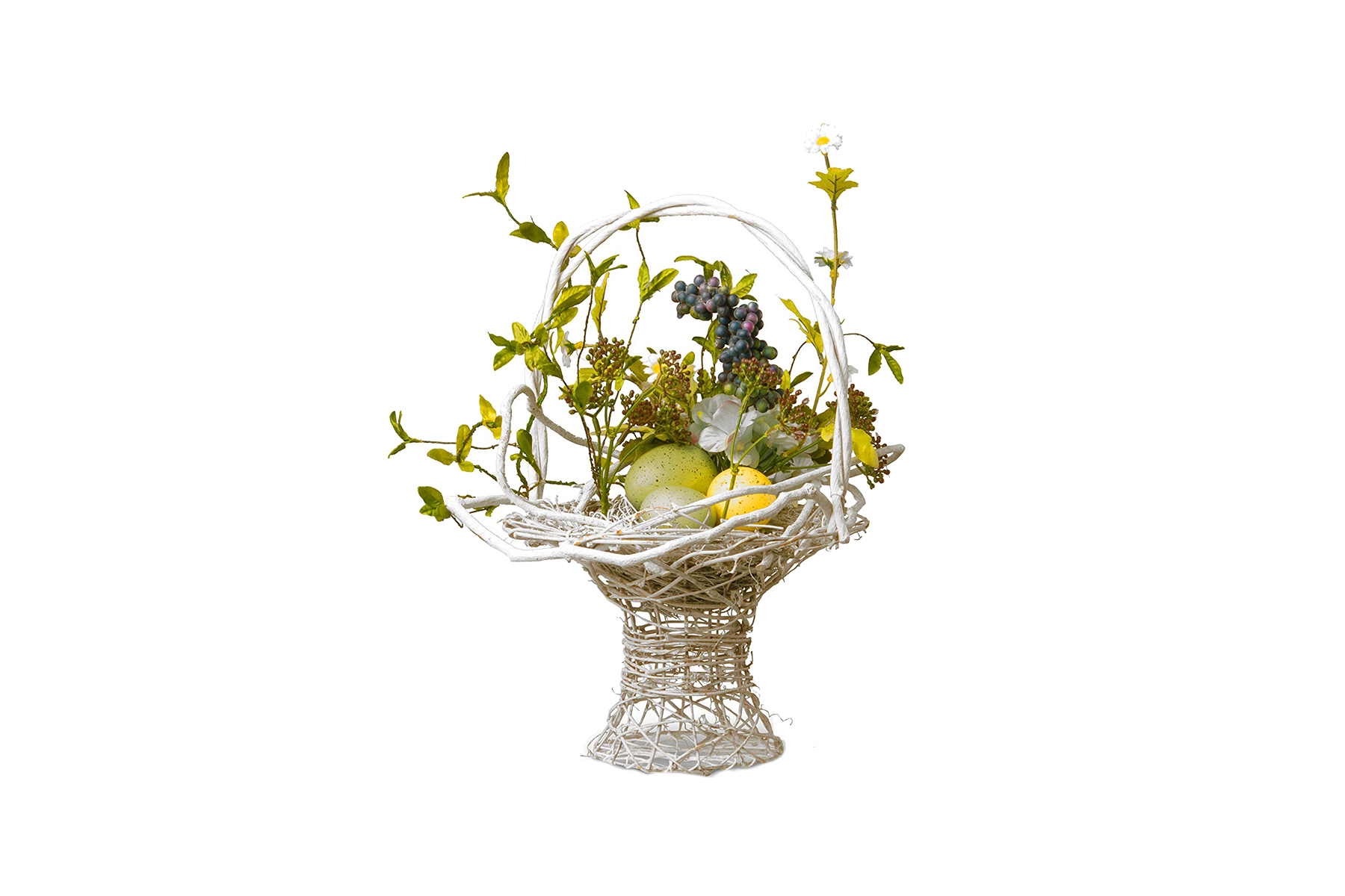 Wood Basket with Hydrangeas and Pastel Easter Eggs