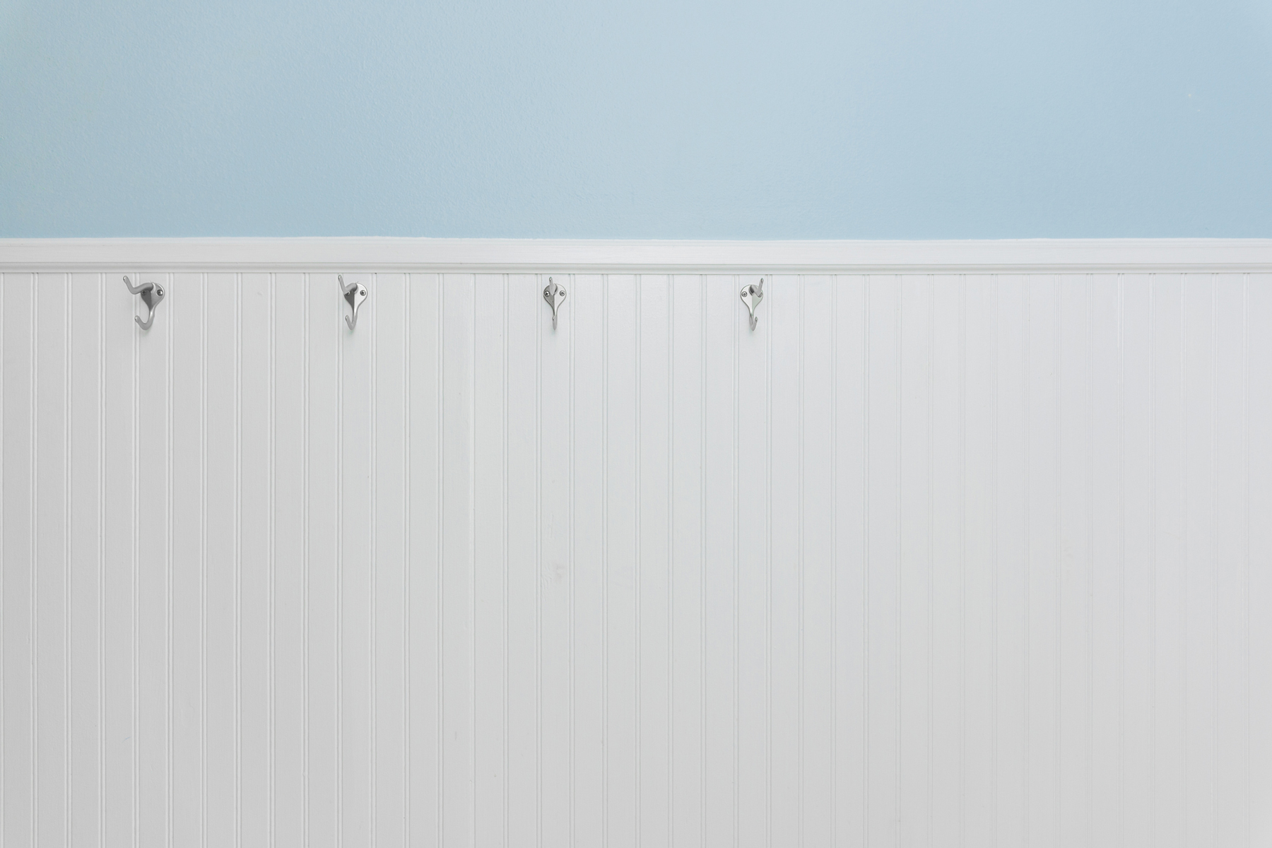 Beadboard paneling and wainscoting in a bathroom