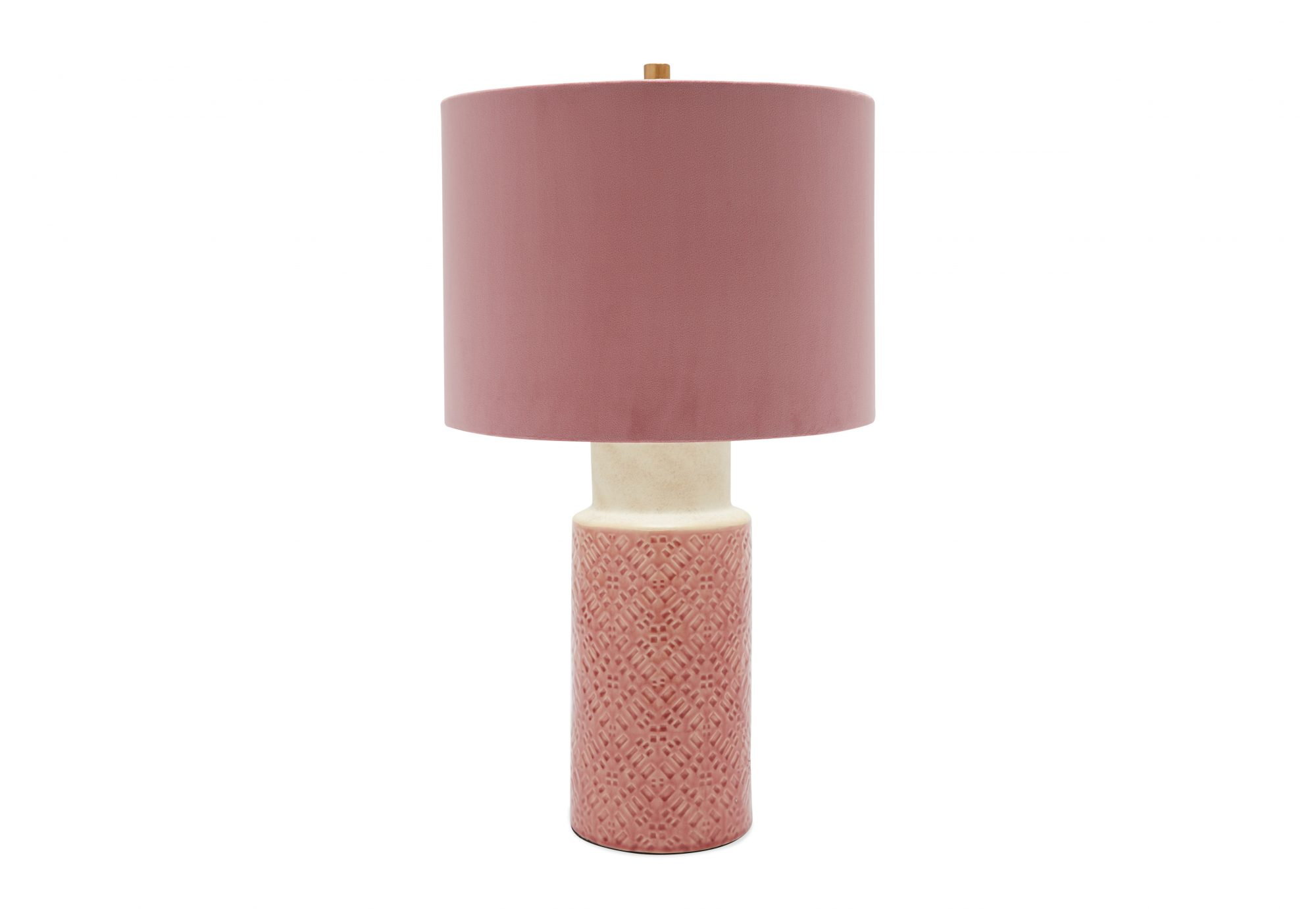 Ceramic Pink Table Lamp with Russian Rose Velvet Shade