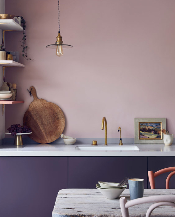 What Is Chalk Paint? Annie Sloan Chalk Paint, kitchen with purple chalk paint on walls and cabinets