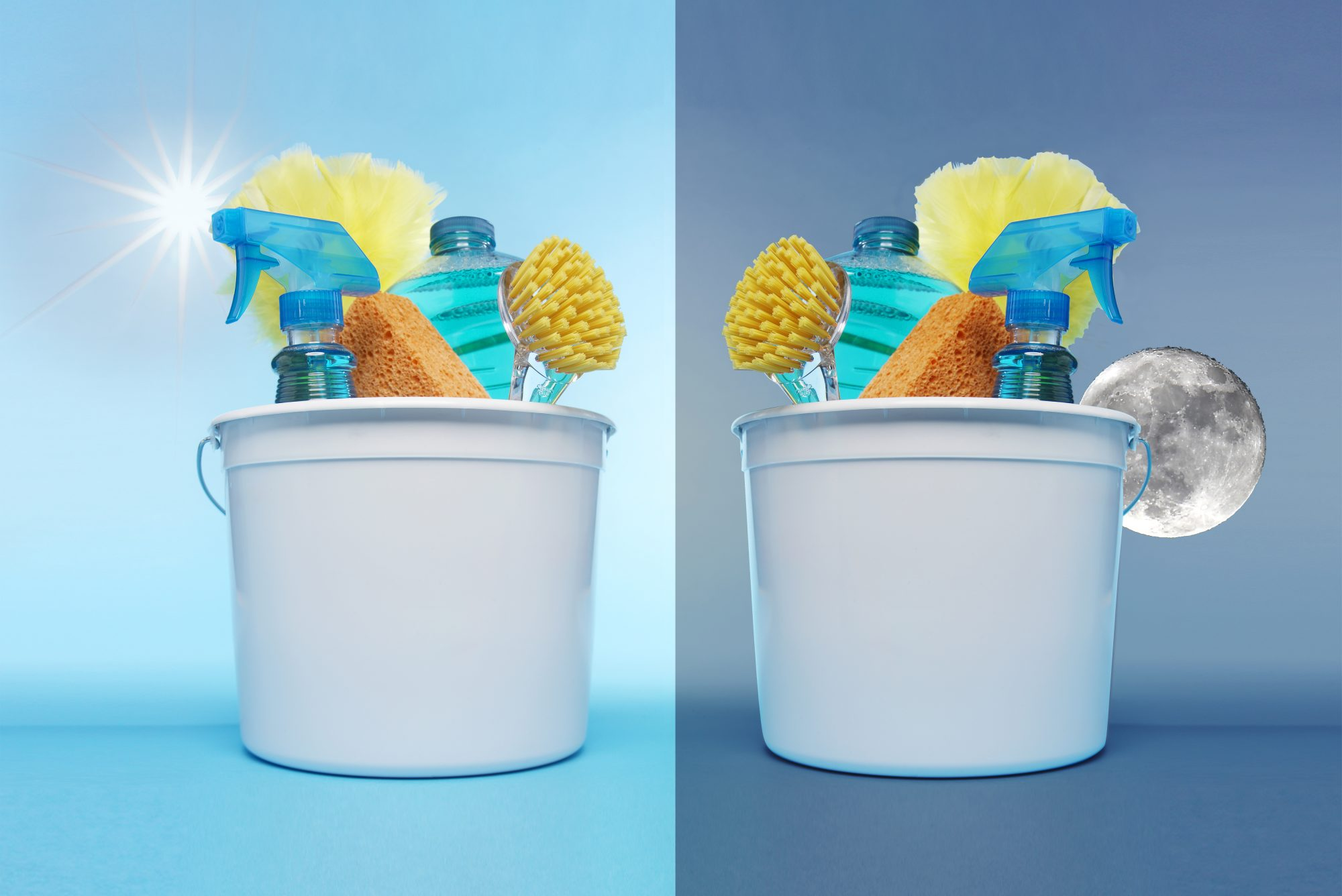 Ultimate Cleaning Routines for Early Birds and Night Owl, cleaning bucket at day and night