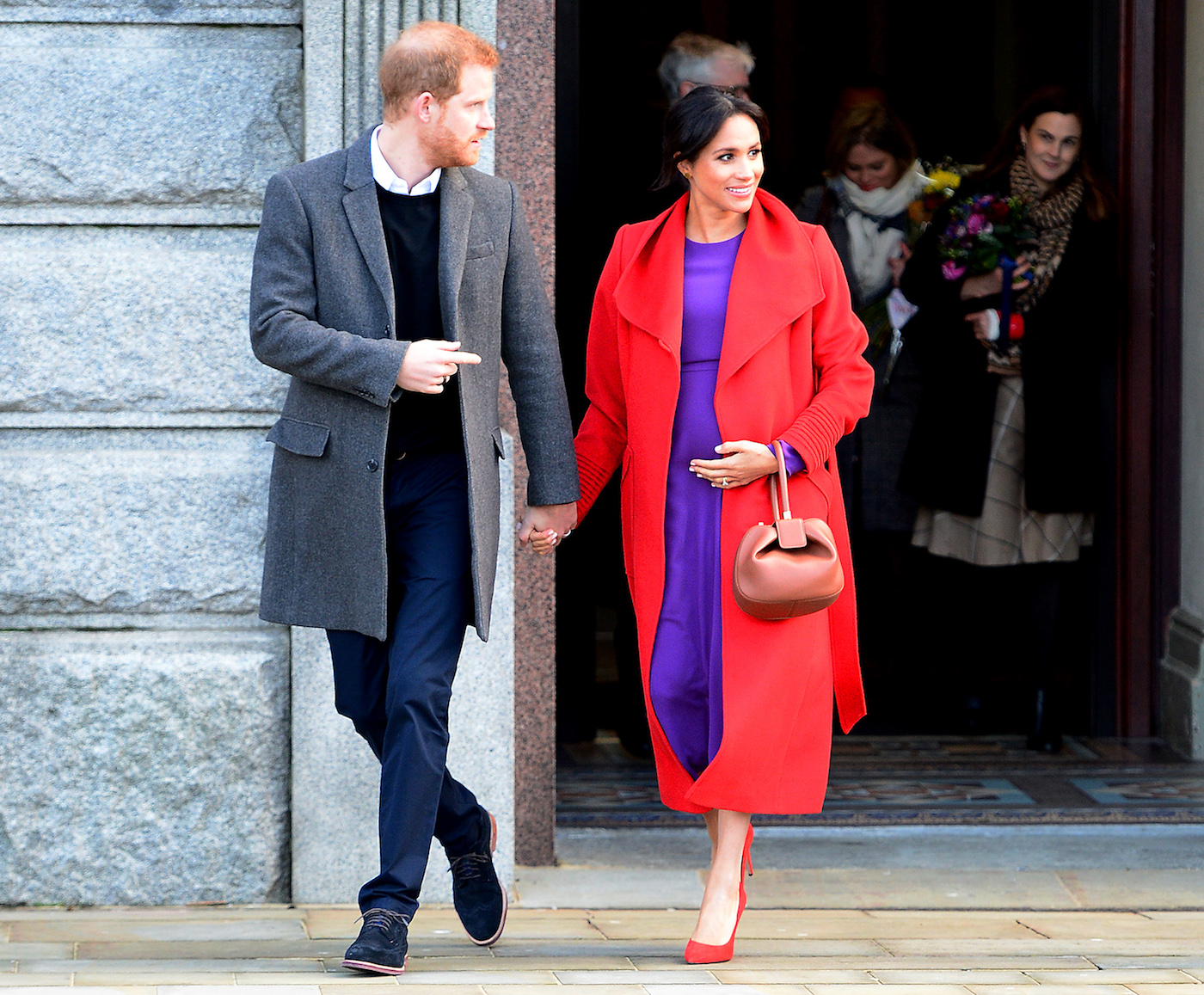 Meghan Markle Wearing Bright Red Wrap Coat