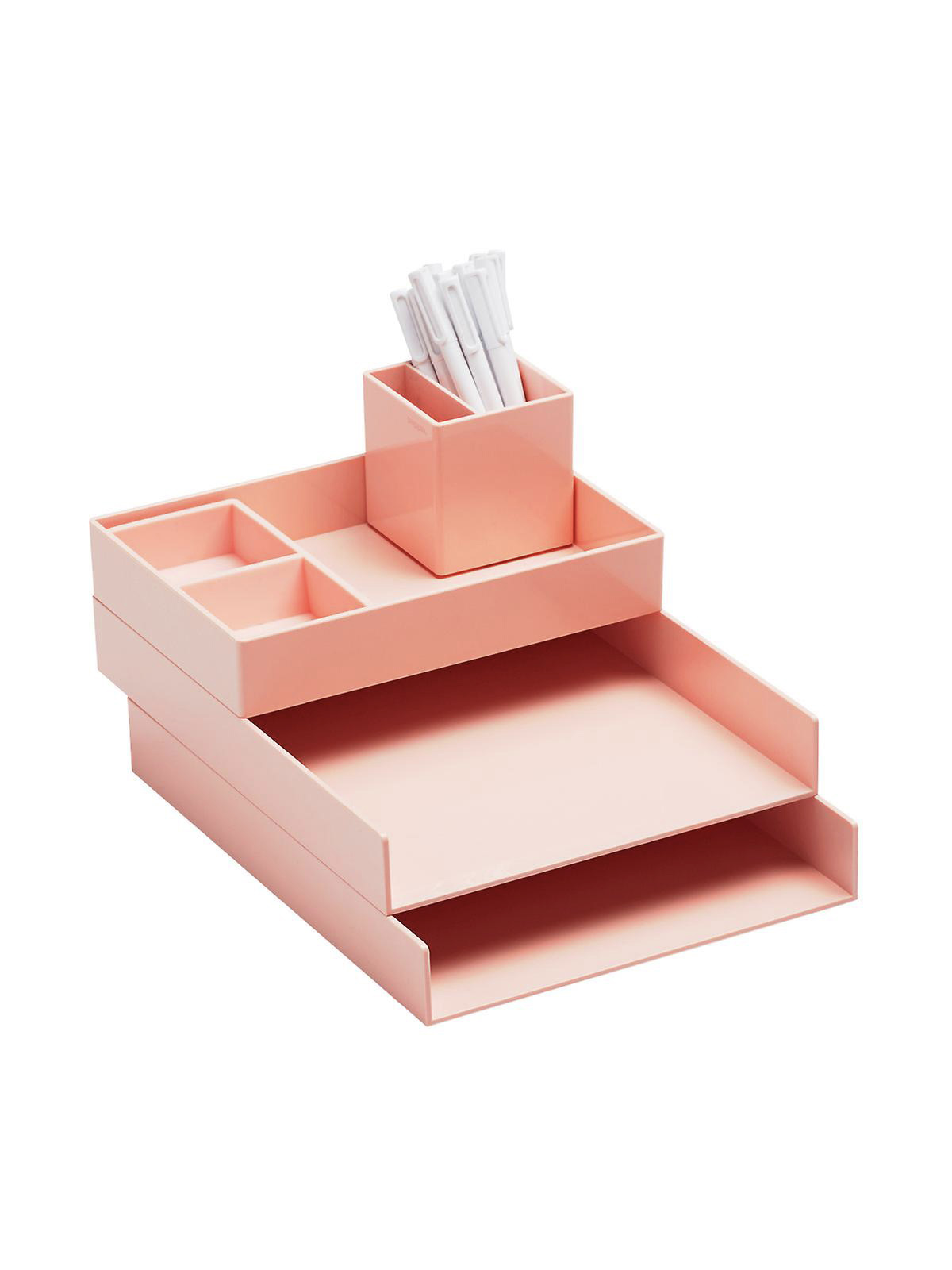 Poppin desk organizer in peach