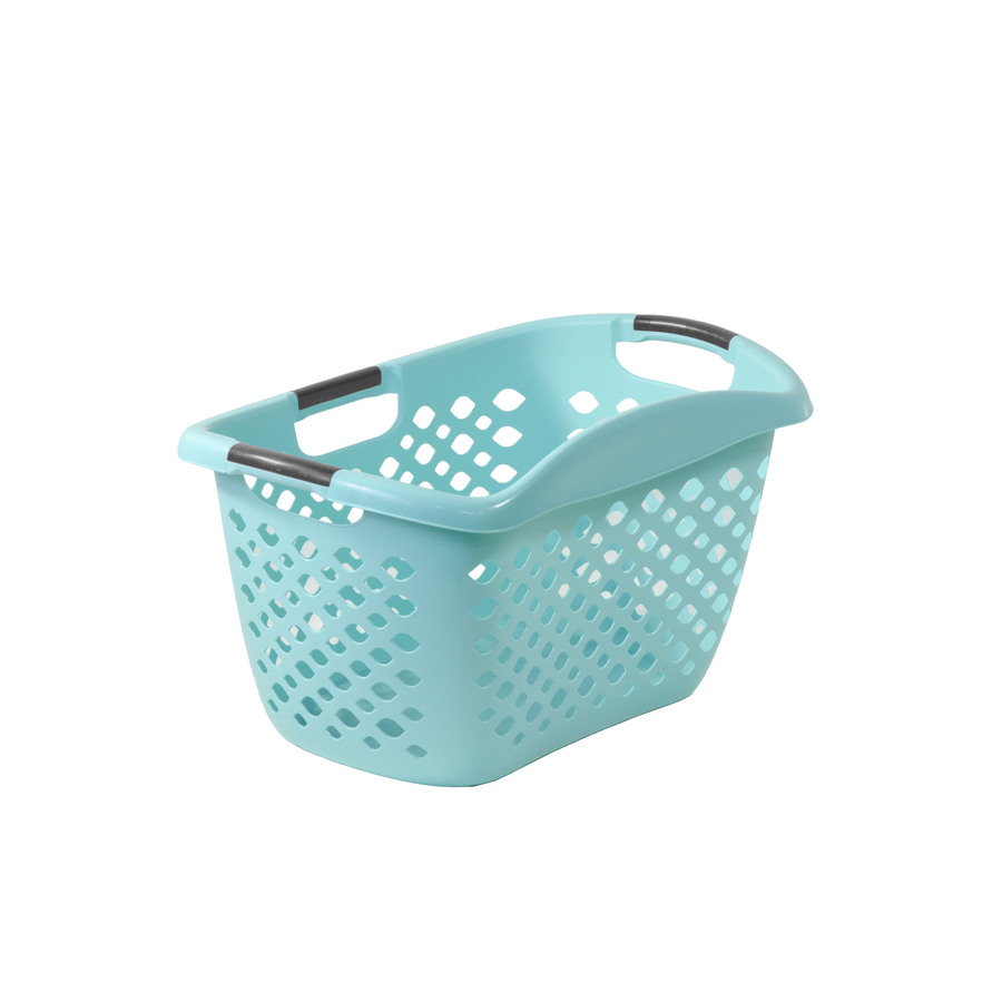 Most Durable Laundry Basket, teal plastic basket with handles