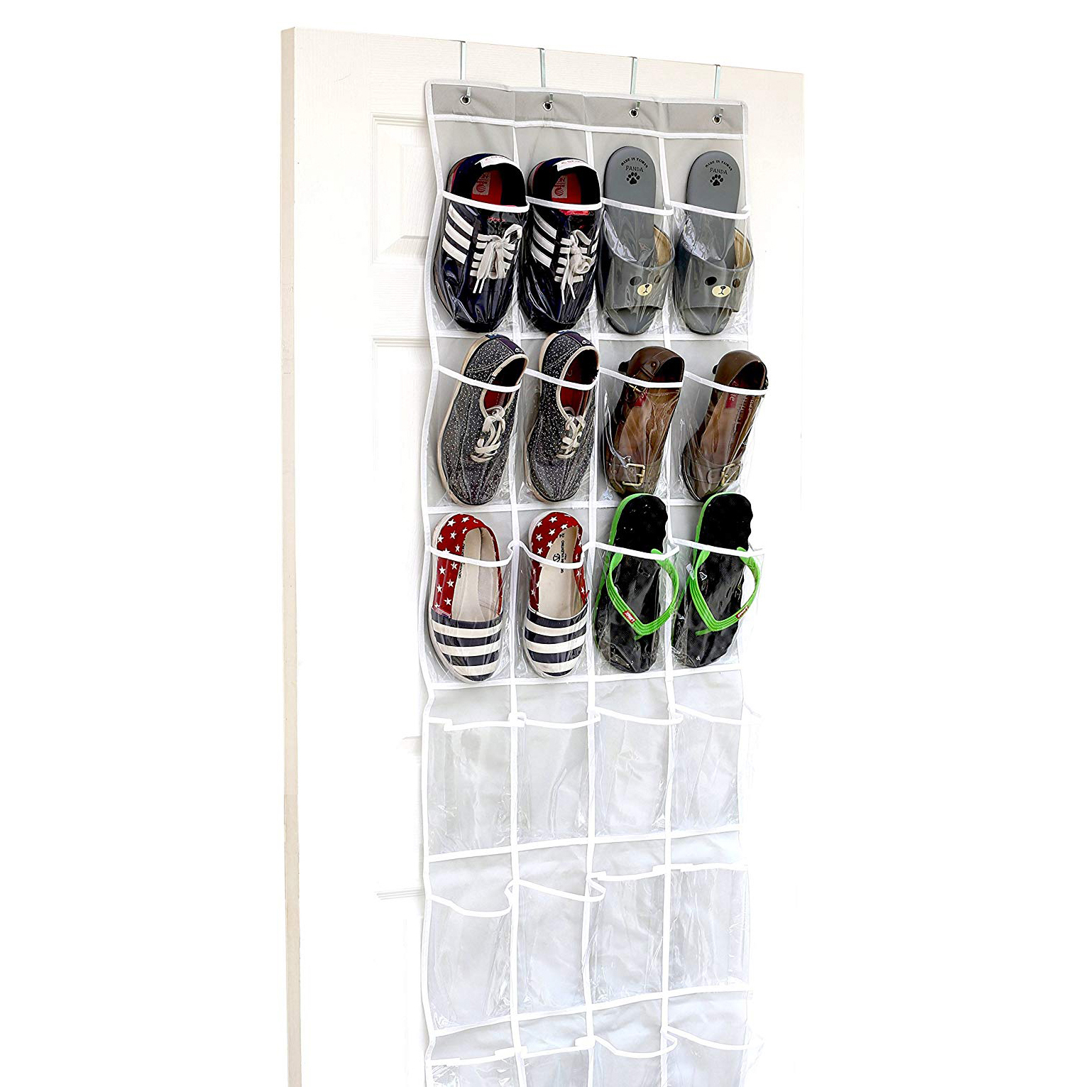 Simple Houseware Crystal Clear Over-the-Door Hanging Shoe Organizer
