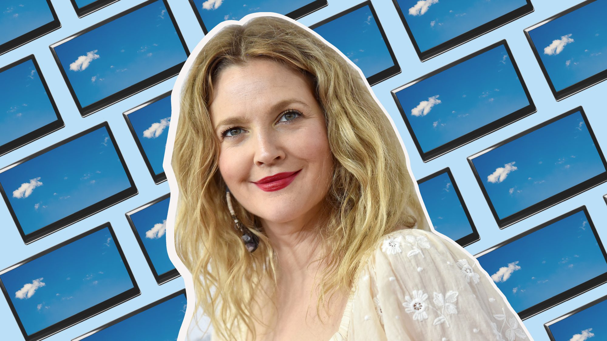 Drew Barrymore and tv screens