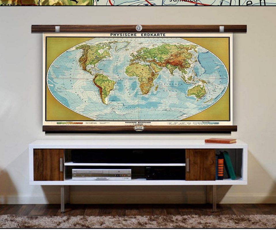 vintage map wall art to hide tv