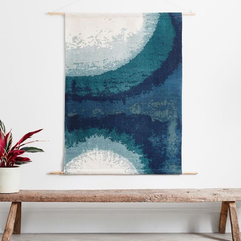 Blue and white woven wall art