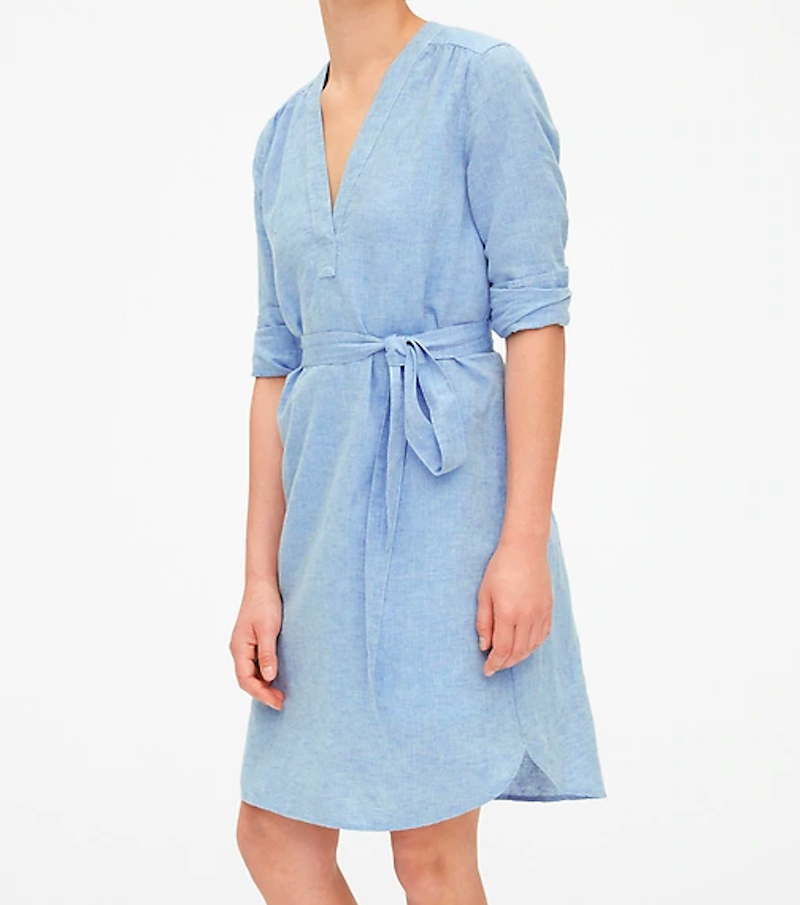 Blue linen wrap work dress