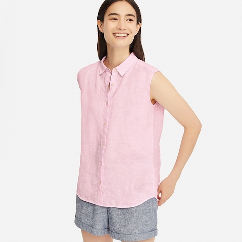 pink linen button down sleeveless top