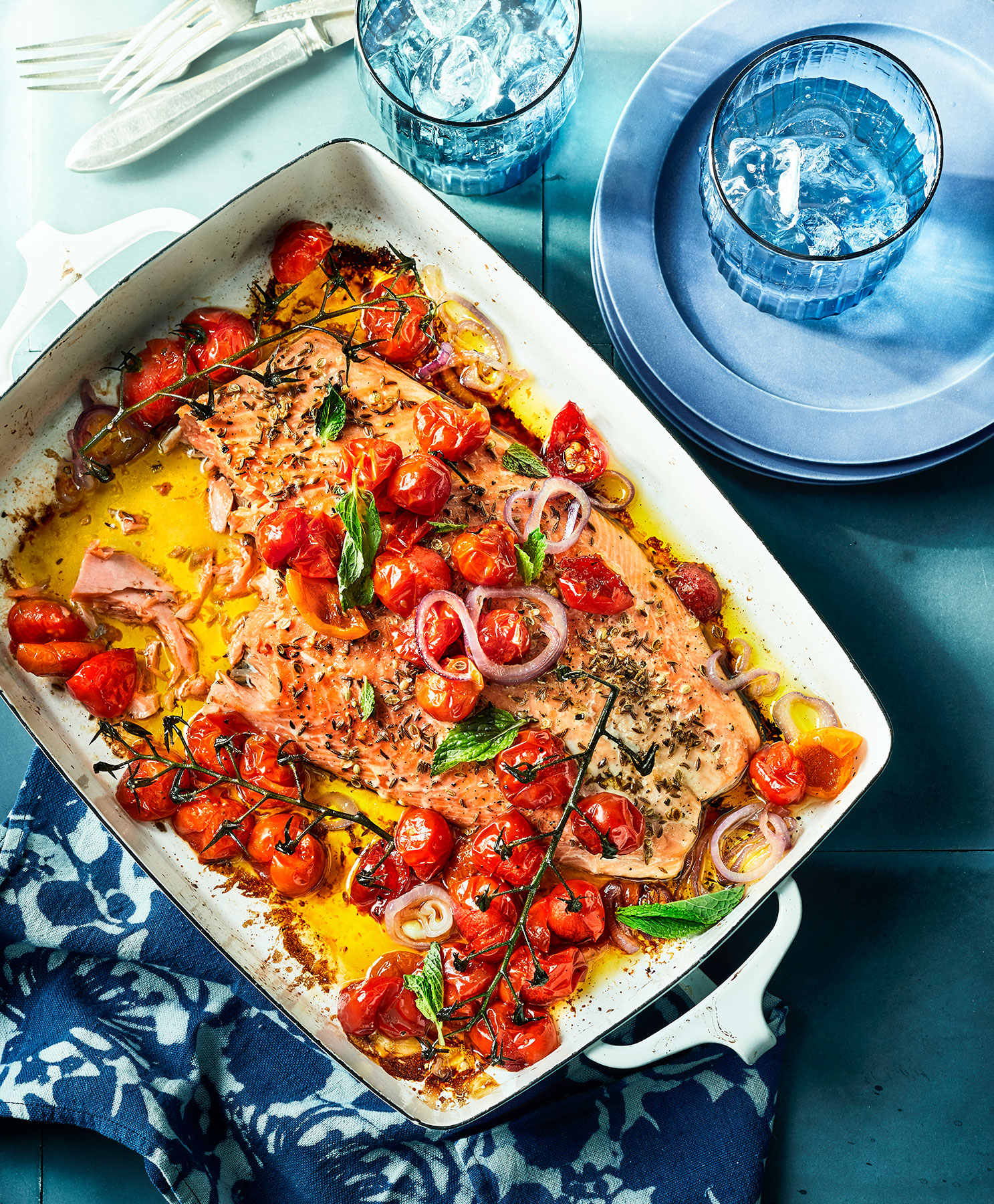 Roast Salmon With Tomatoes and Peppadews