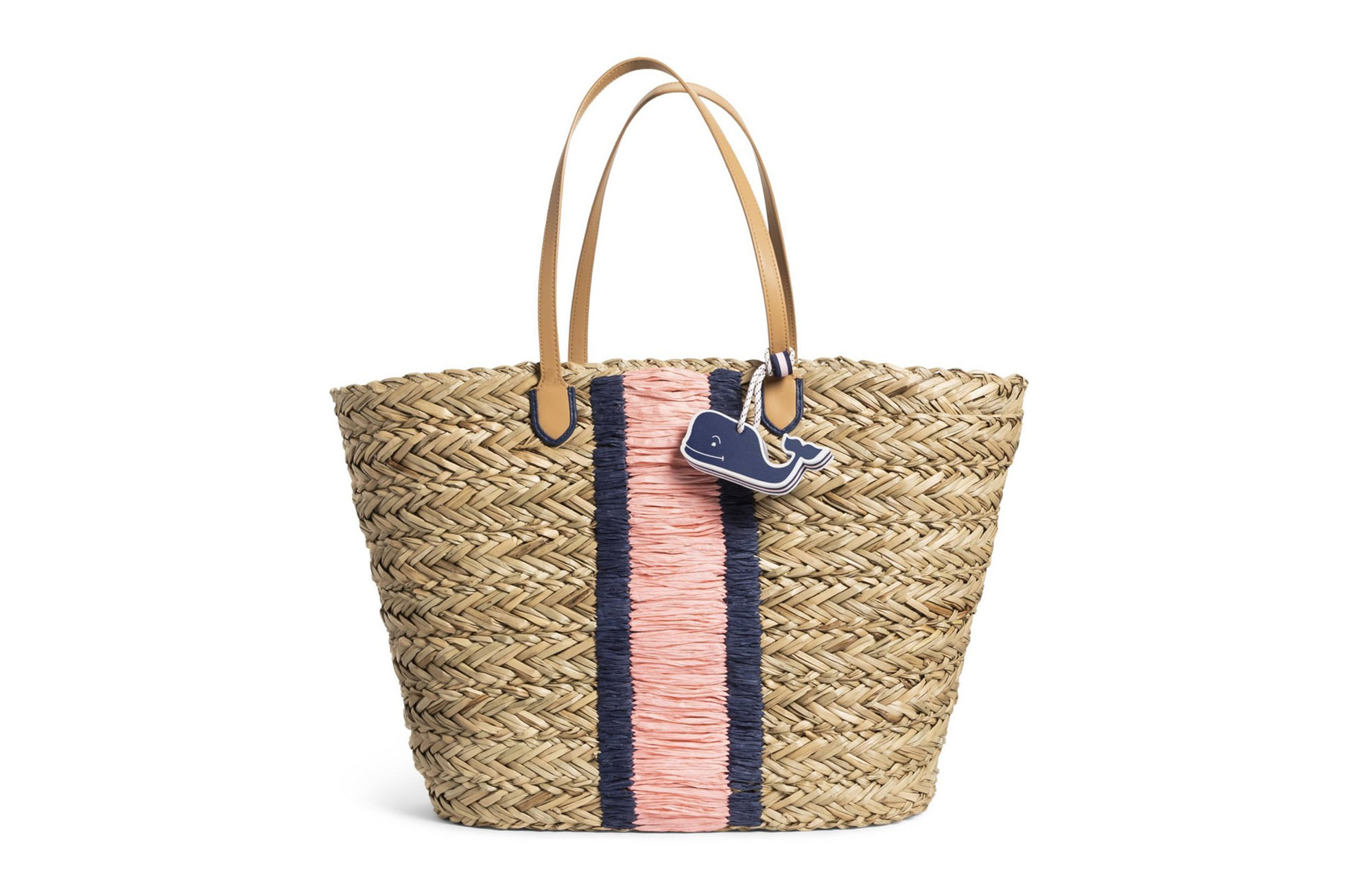 Straw Beach Bag with Whale Fob