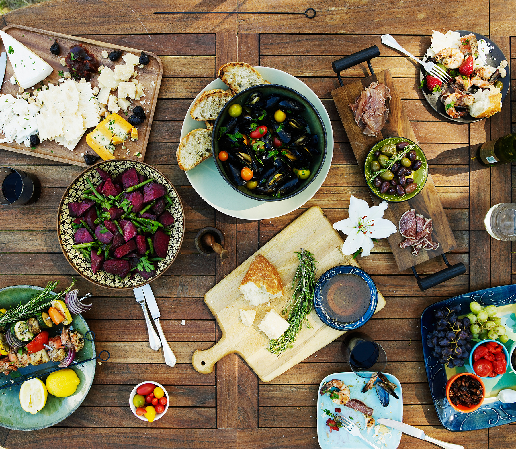 Lunch spread on picnic table