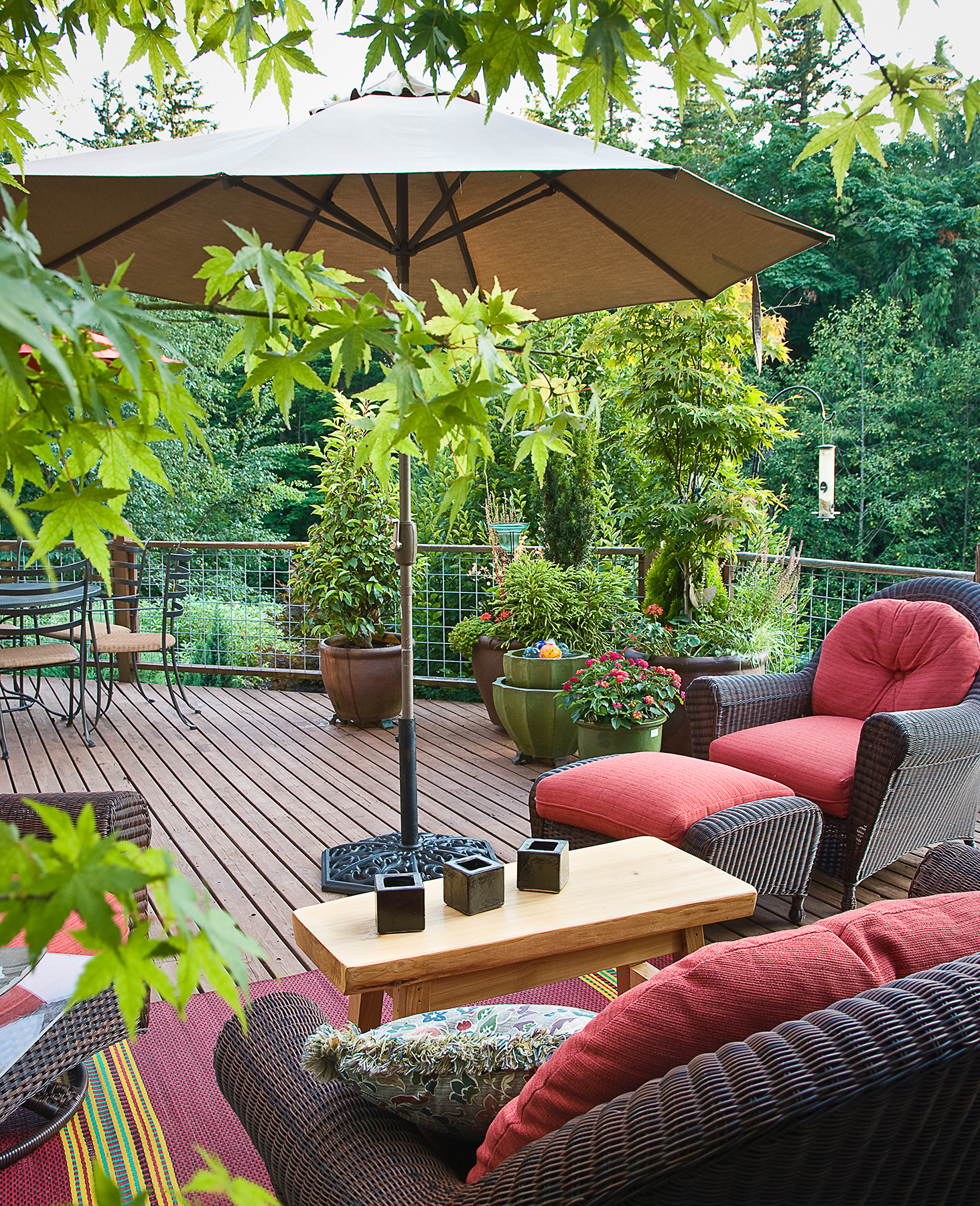 Define outdoor space by using an umbrella