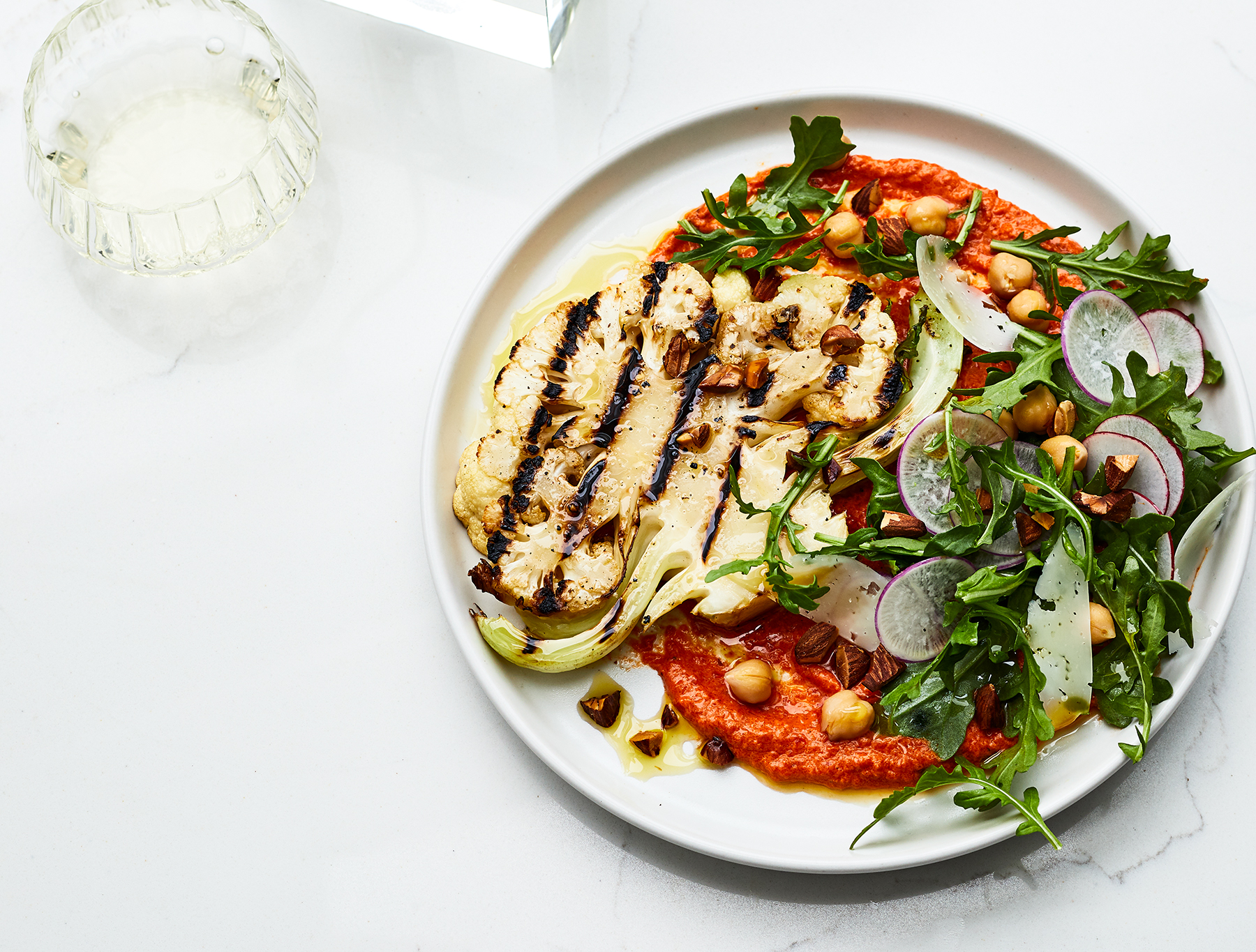 Grilled Cauliflower Steaks With Romesco and Manchego