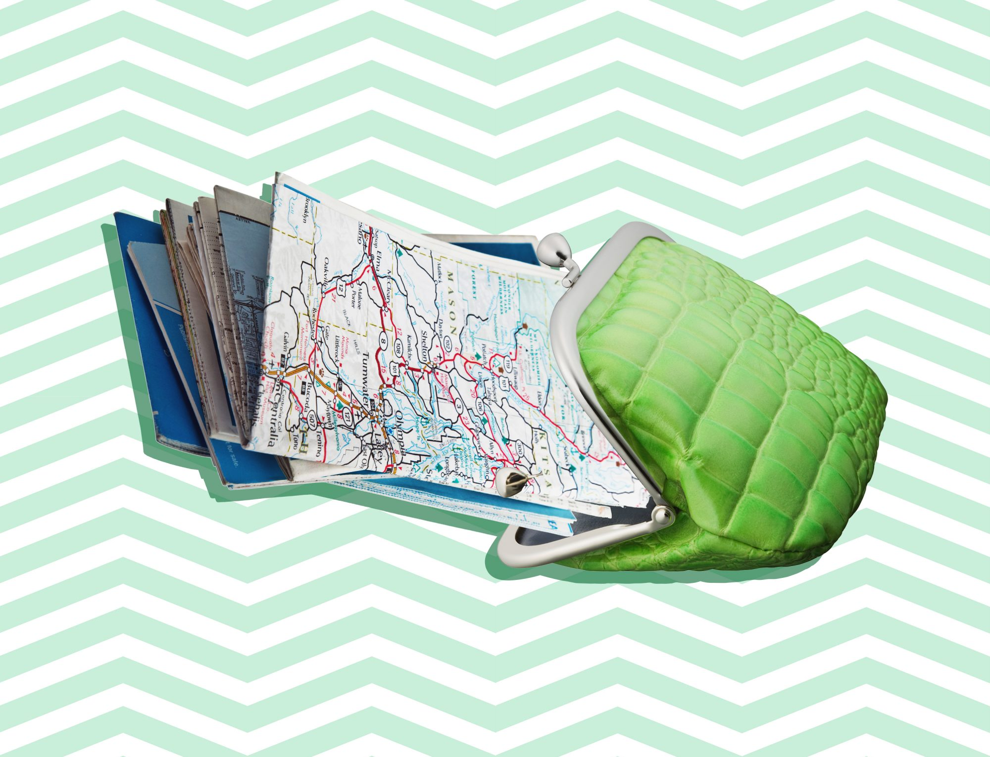 How to Travel for (Nearly) Free, maps in wallet