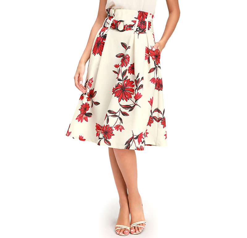 Begonia By Mine Cream Floral Print Belted Midi Skirt