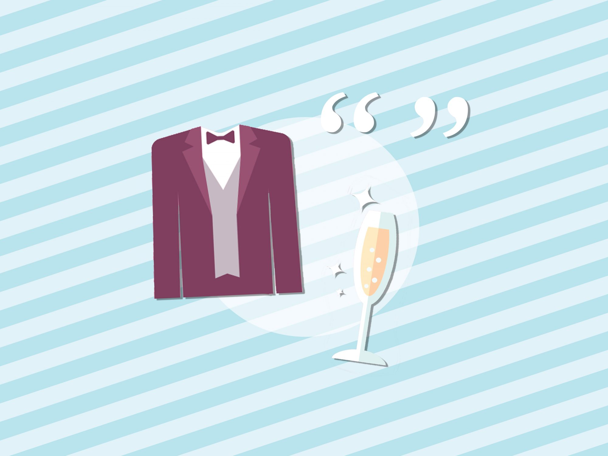 Best Man Toast Quotes: tuxedo and champagne glass quotes on a blue background