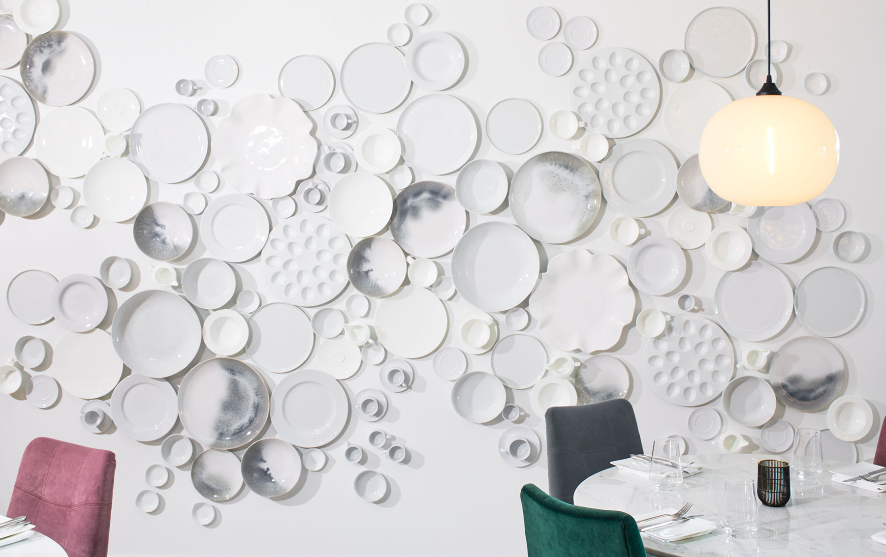 Crate & Barrel restaurant - The Table at Crate plate, dinnerware, and serveware wall art