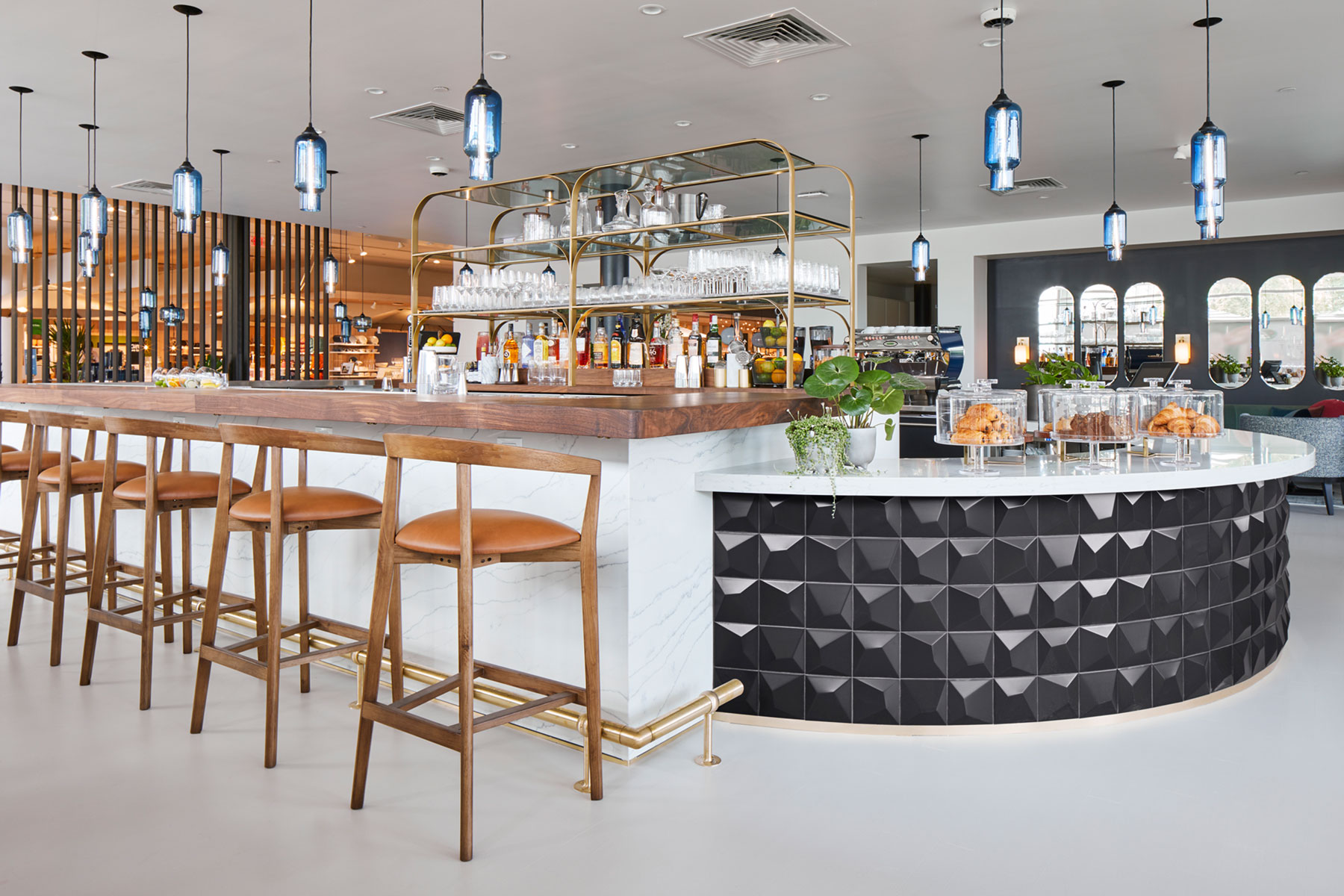 Crate & Barrel restaurant - The Table at Crate marble and butcher block countertop bar