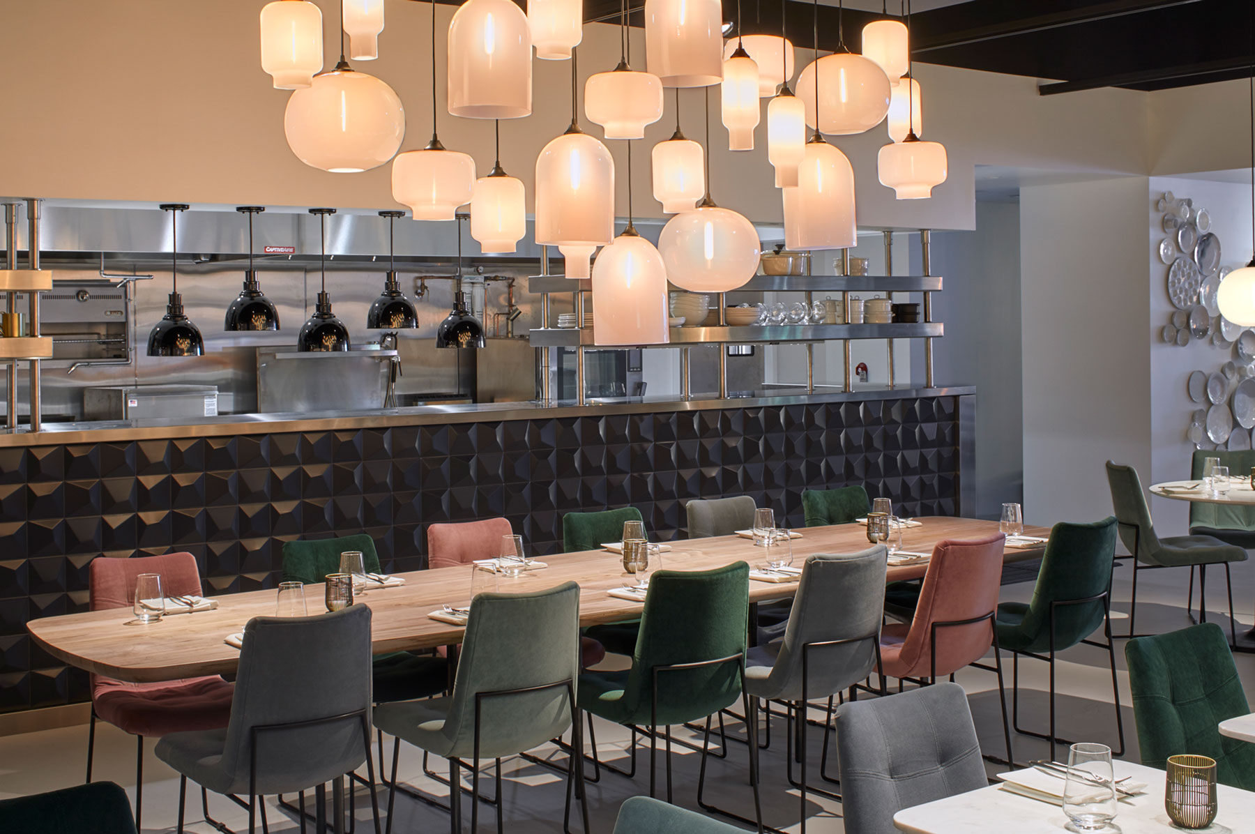 Crate & Barrel restaurant - The Table at Crate pendant light clusters