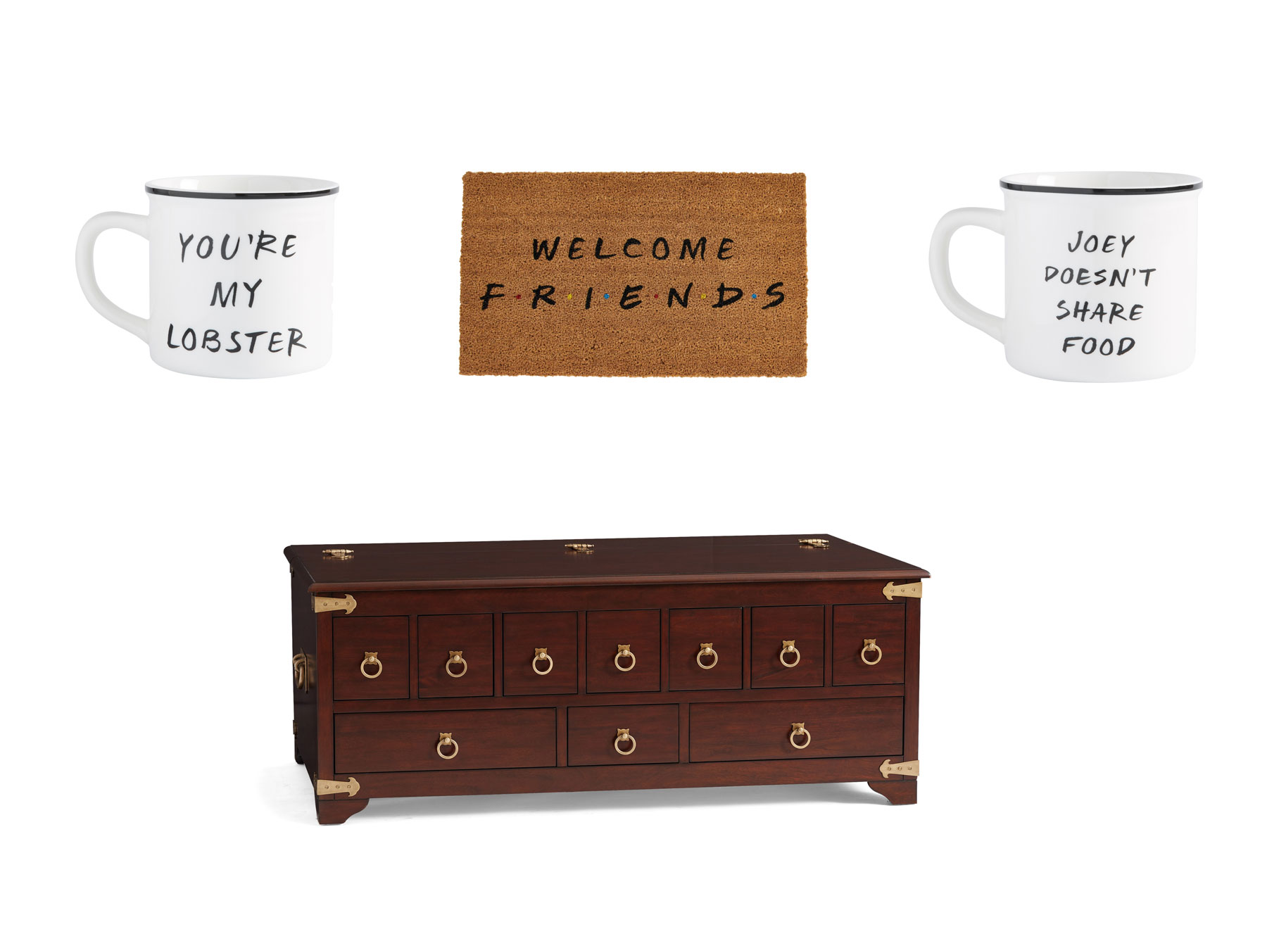 Pottery Barn Apothecary Table from Friends - collection with doormat and mugs