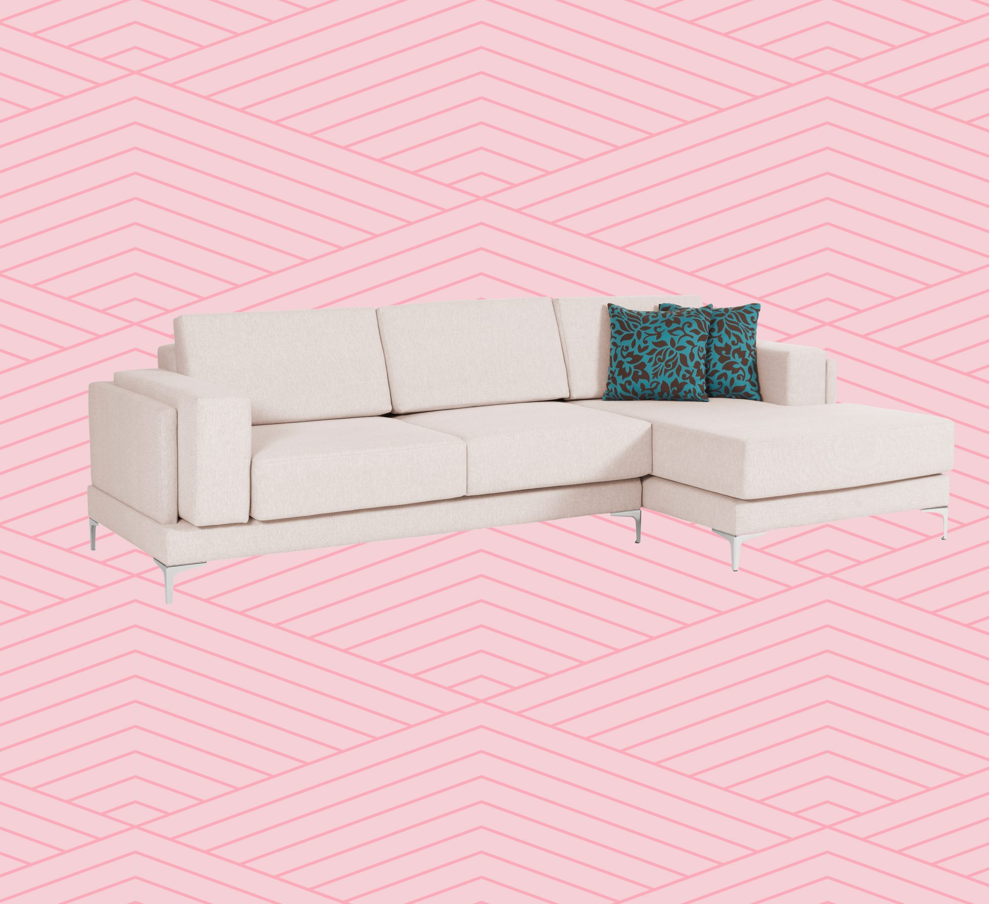 Couch with accent throw pillows