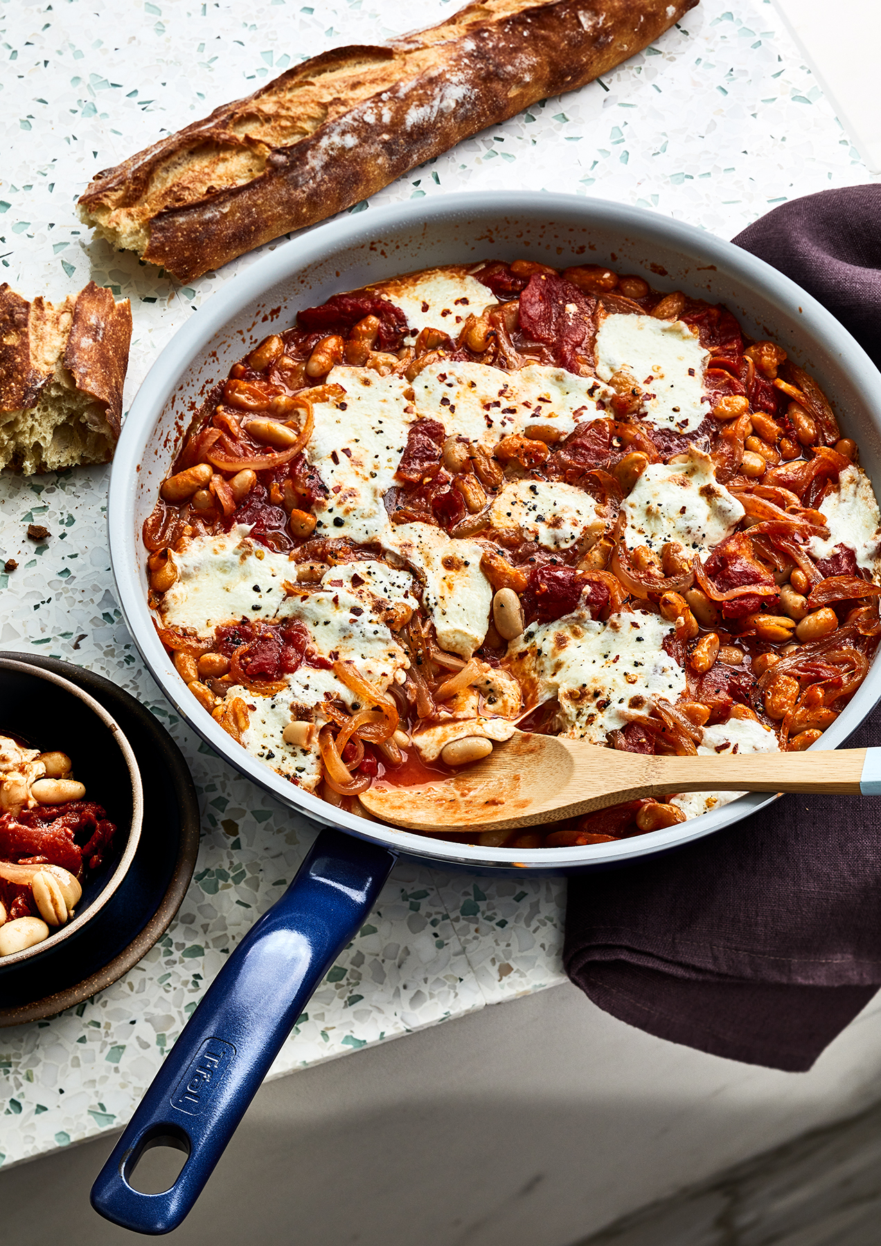 Cheesy Baked Beans and Tomatoes