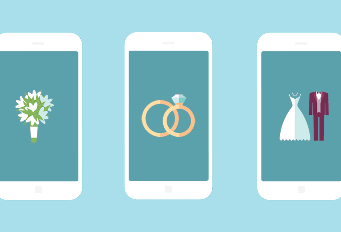 iphone interface illustration with wedding images: unplugged wedding tips