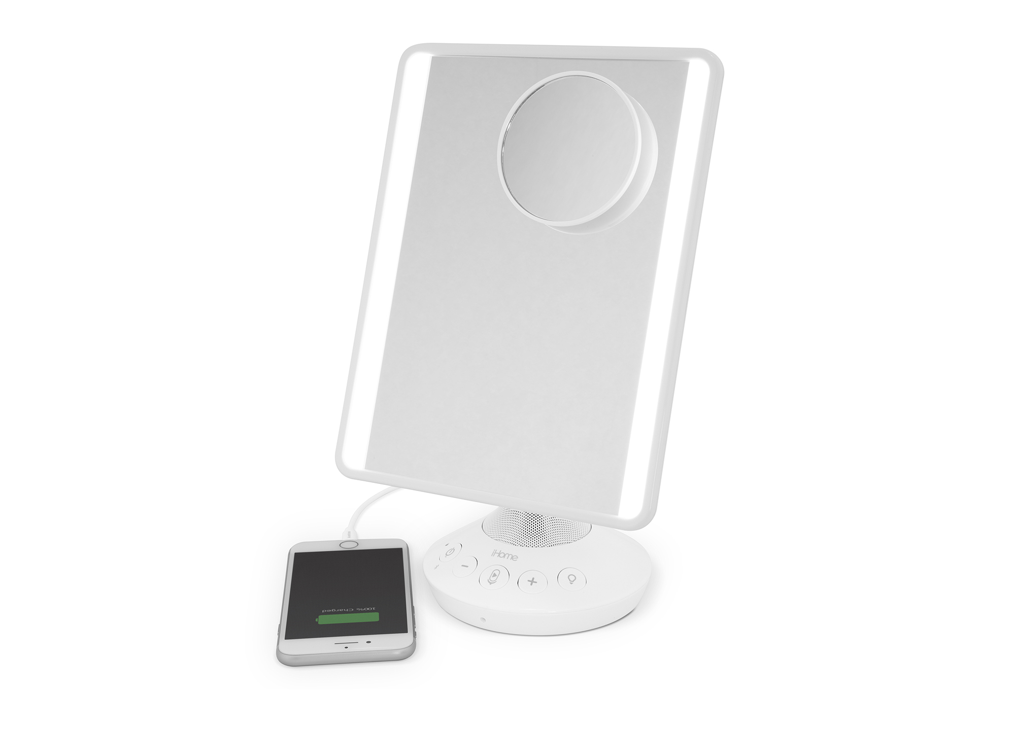 iHome Vanity Mirror with Bluetooth Speaker and USB Charging