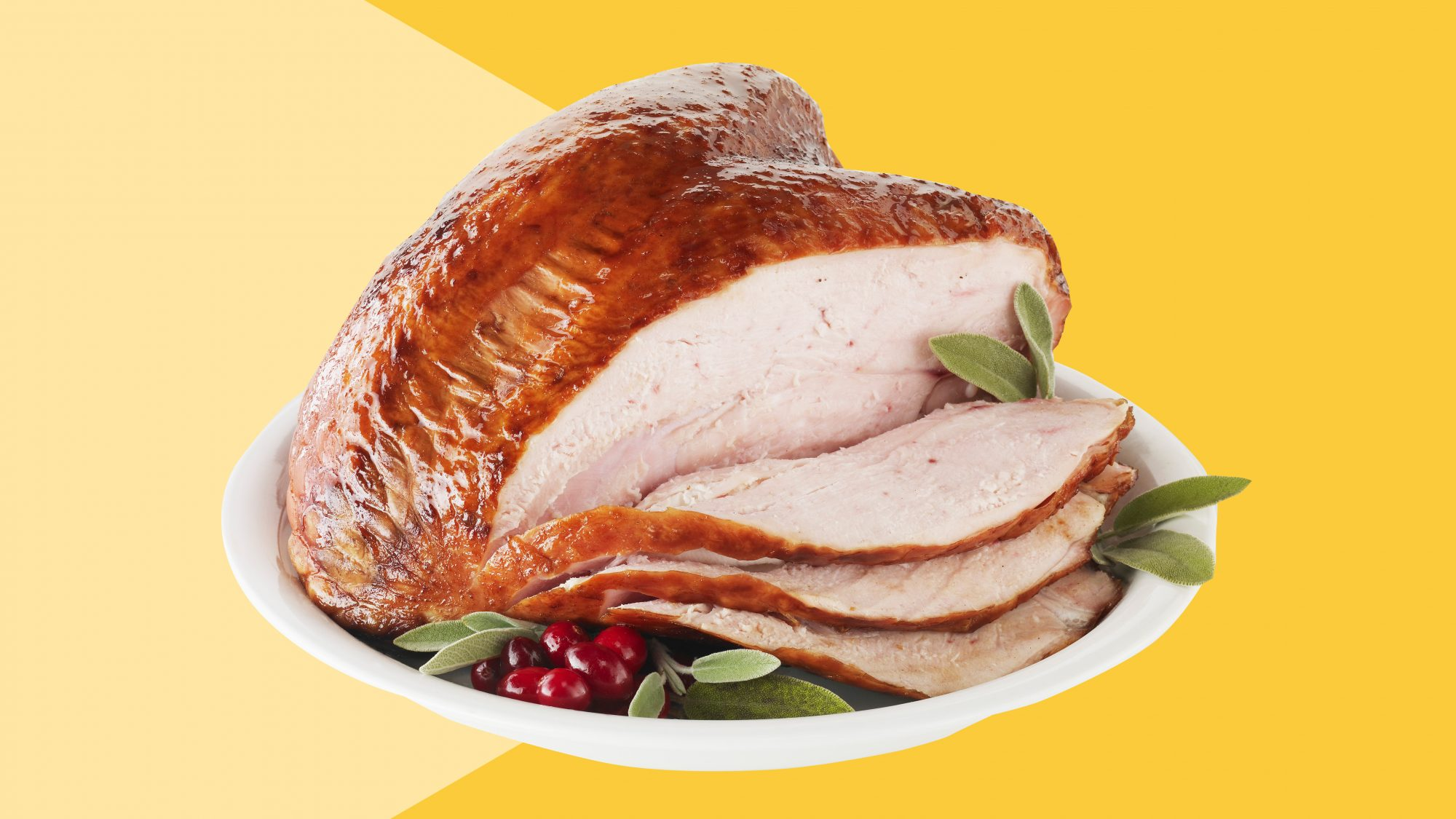 Thanksgiving turkey on a plate with vegetables