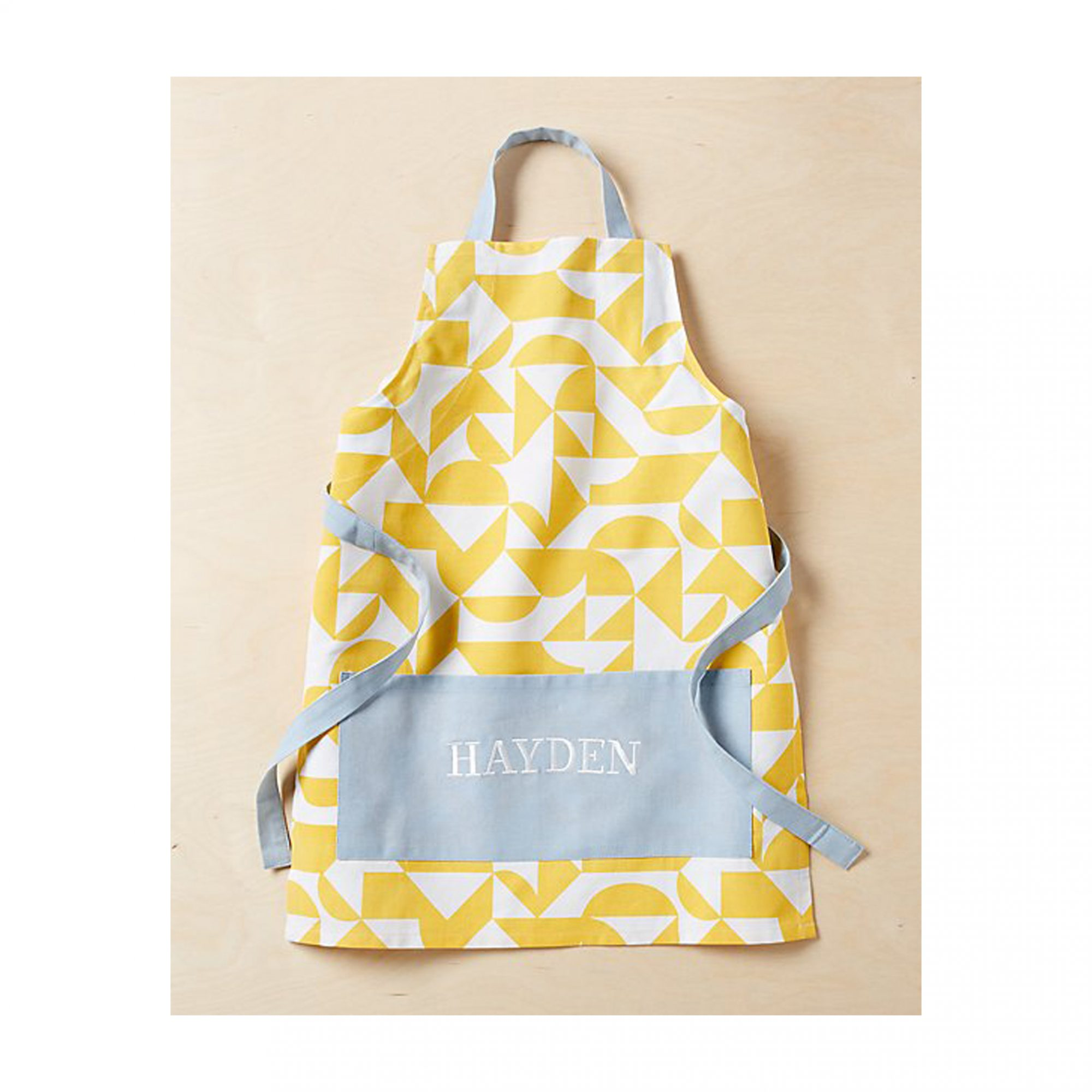 Cheap Christmas Gifts for Kids: Crate and Barrel Yellow Geometric Kids' Apron