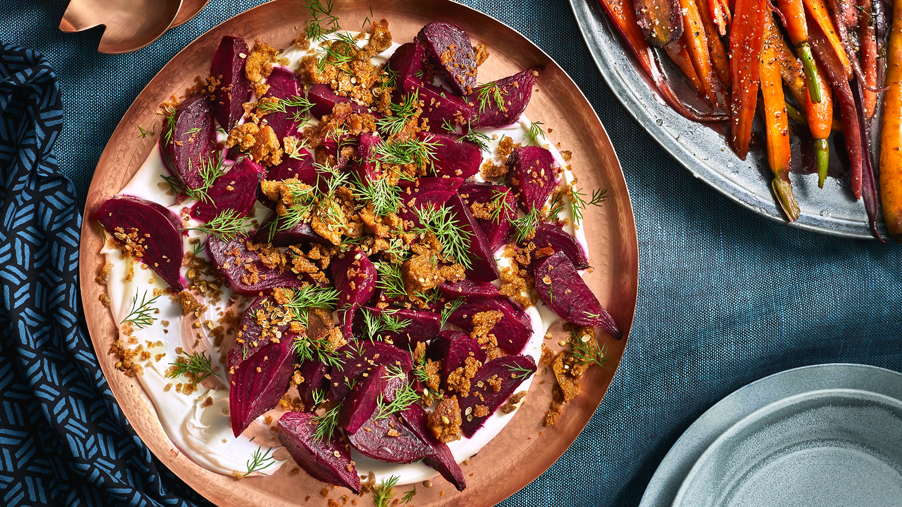 Gin-Infused Beets With Crème Fraîche and Rye Bread Crumbs