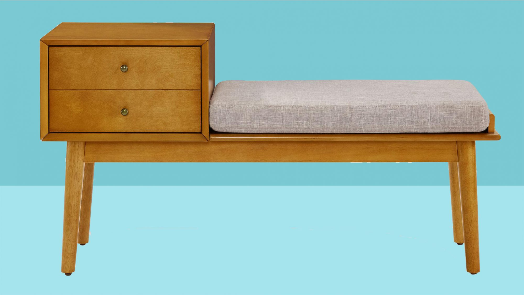 Small Entryway Decorating Ideas, storage bench on blue background