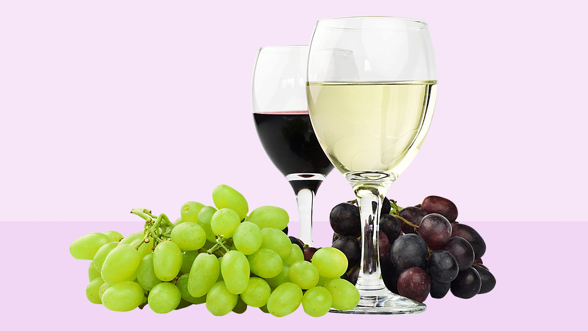 glasses of red and white wine, with grapes
