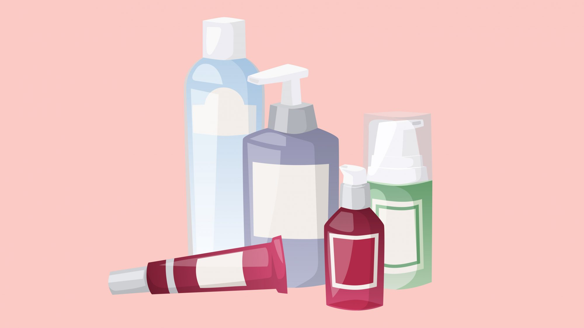 illustration of various skincare products
