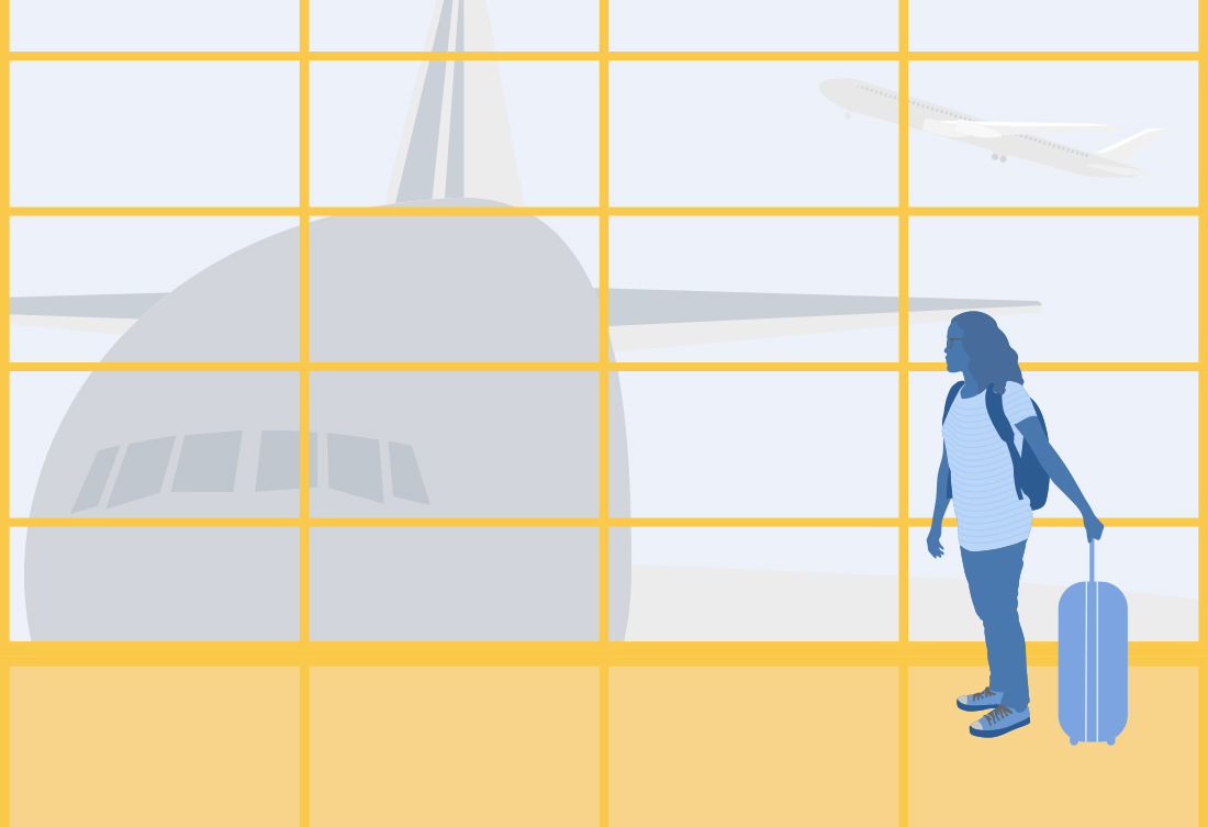 illustration of person about to board a plane