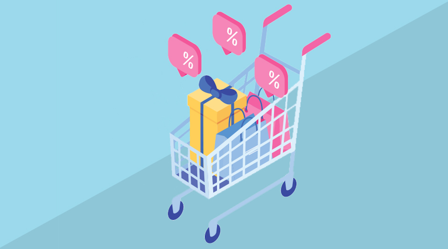 After Christmas sales, illustrated shopping cart