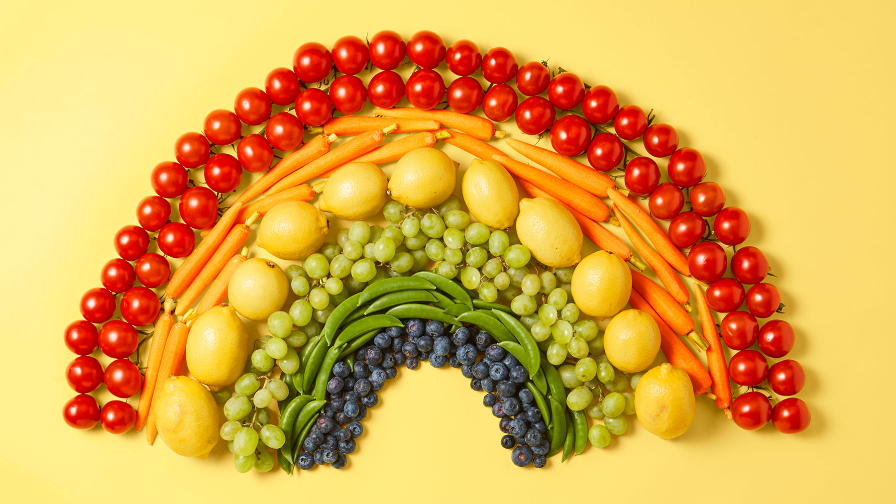 What Is Intuitive Eating: Rainbow of fruits and vegetables