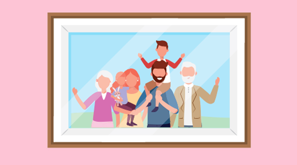 Illustration of extended family photo