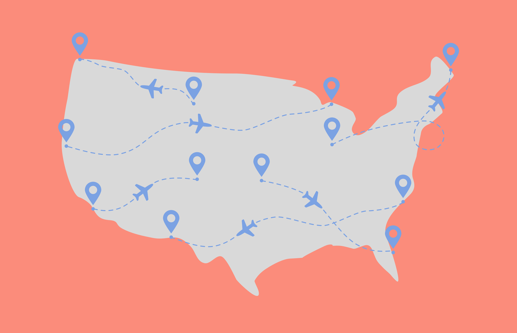 illustration of the map of the U.S. showing airline flight patterns