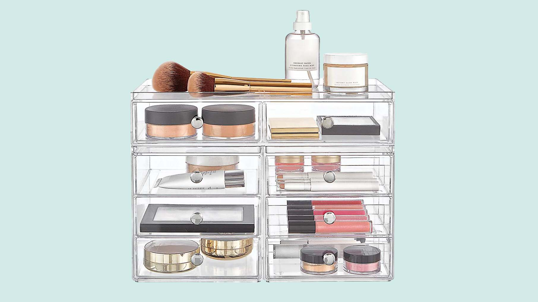 Best Container Store Organizer: clear acrylic makeup organizer