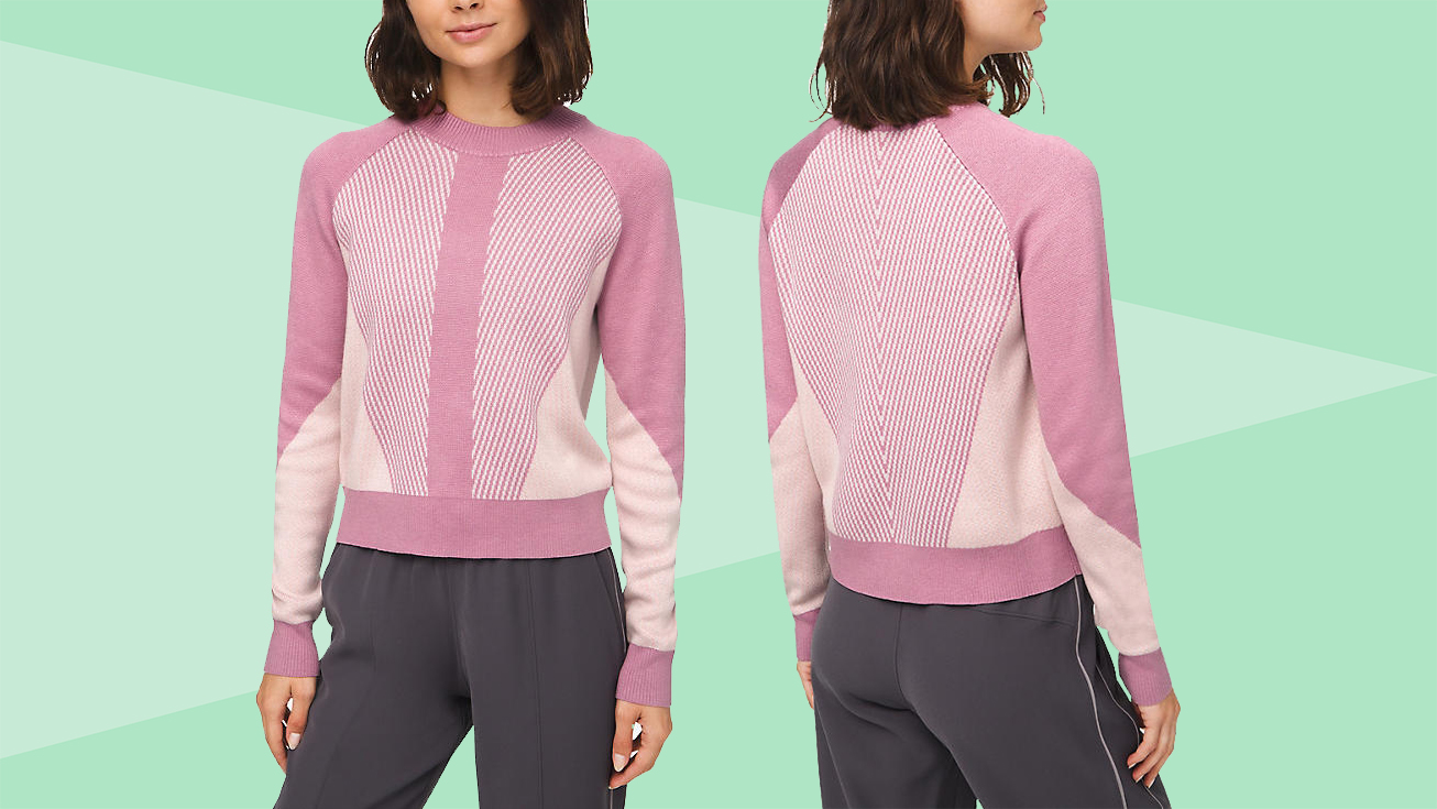 everyday-warm-clothes: woman wearing a pink sweater