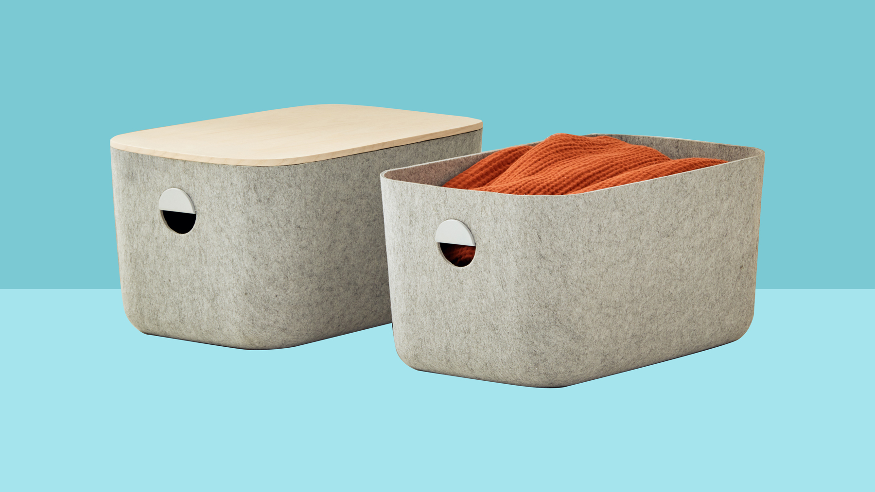 Open Spaces organizing products company: Large bins in felt